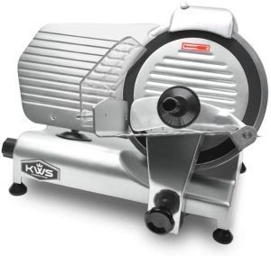 KWS MS-10NT Premium Commercial 320W Electric Meat Slicer 10-Inch with Non-sticky Teflon Blade, Frozen Meat