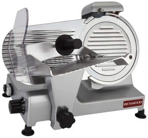 "BESWOOD 9"" Premium Chromium-plated Carbon Steel Blade Electric Deli Meat Cheese Food Slicer Commercial and for Home Use 240W BESWOOD220"