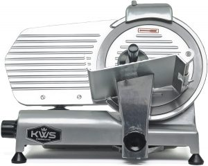 "KWS Commercial 320w Electric Meat Slicer 10"" Frozen Meat Deli Slicer Coffee Shop/restaurant and Home Use Low Noises (Stainless Steel Blade - Silver)"