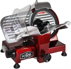 KWS MS-10XT Premium Commercial 320W Electric Meat Slicer 10-Inch in Red with Non-sticky Teflon Blade, Frozen Meat/Deli Meat/Cheese/Food Slicer Low Noises Commercial and Home Use