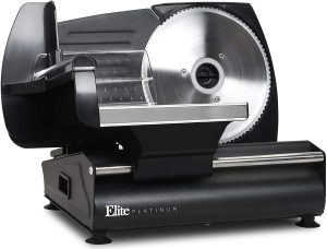 """Maxi-Matic Elite Platinum Ultimate Precision Electric Deli Food Meat Slicer Removable Stainless Steel Blade, Adjustable Thickness, Ideal for Cold Cuts, Hard Cheese, Vegetables & Bread, 7.5"""", EMT-625B"""