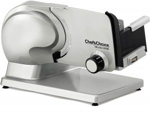 Chef'sChoice 615A Electric Meat Slicer Features Precision thickness Control & Tilted Food Carriage For Fast & Efficient Slicing with Removable Blade for Easy Clean, 7-Inch, Silver