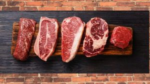 Different types of meat cuts